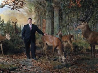 Ein Mann im Wald mit Tieren