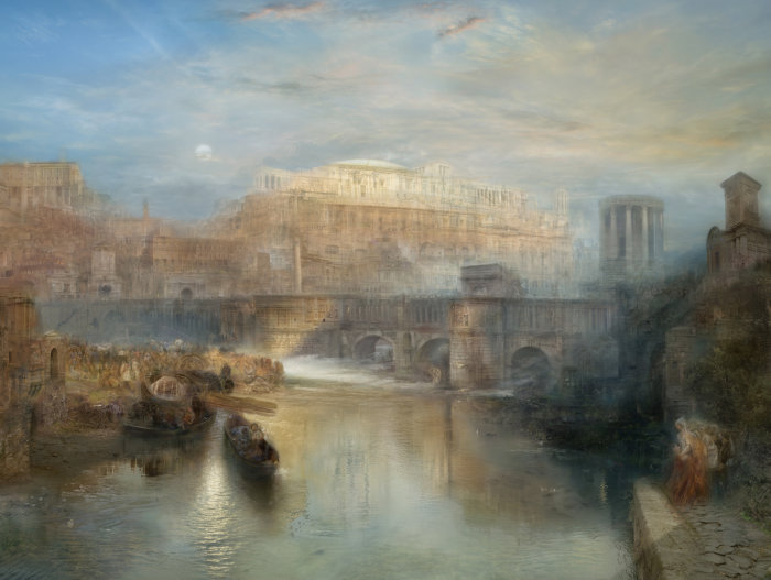 Masuyama, Ancient Rome, Agrippina Landing with the Ashes of Germanicus (after JMW Turner, 1839), 2008 Lightbox