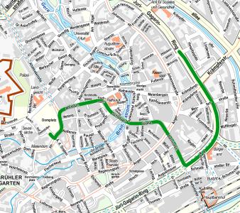 Stadtplanausschnitt mit markierter Strecke
