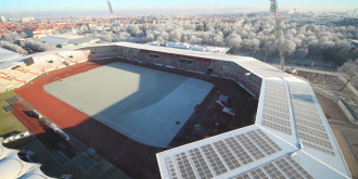 Blick ins Stadion in winterlicher Situation